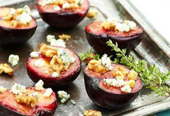 Grilled Plums with Thyme-Infused Honey, Blue Cheese, and Walnuts