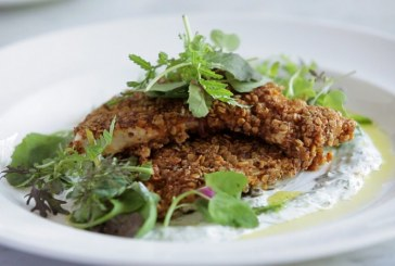Oat-Crusted Chicken With Lemon Yogurt Sauce